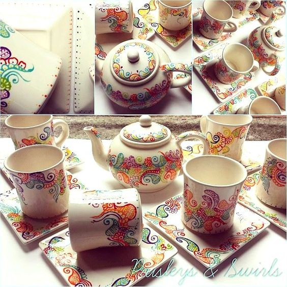 20 creative henna art inspired handmade projects for Creative pottery painting ideas
