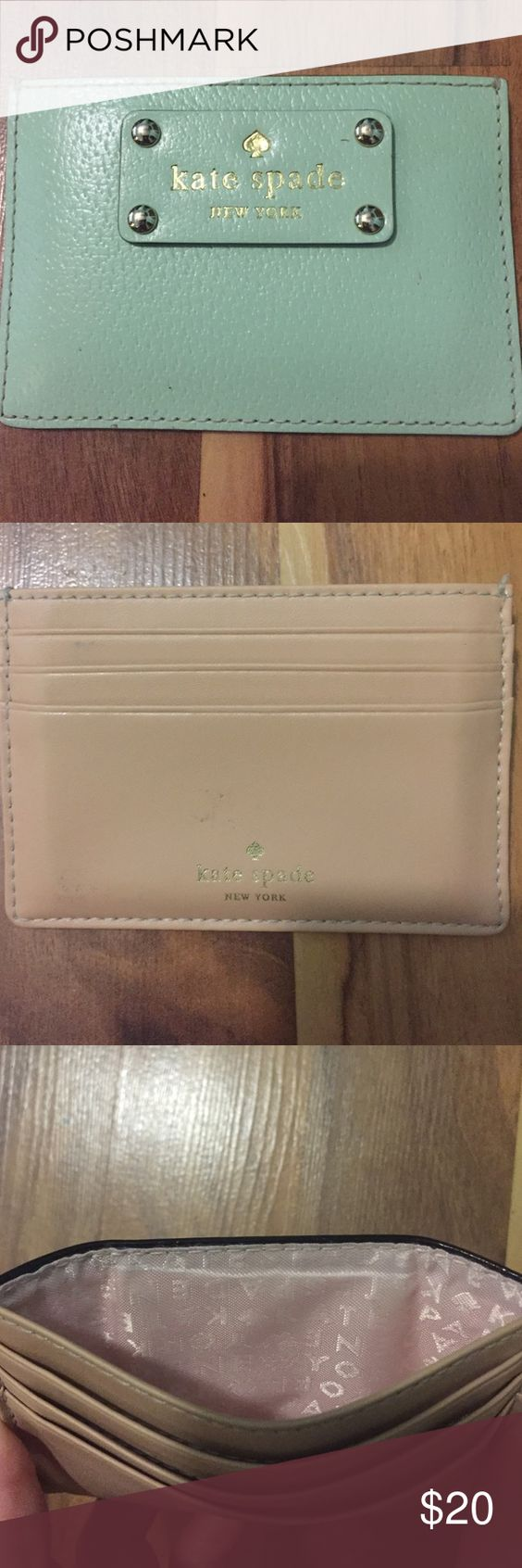 kate spade wallet gently used, small kate spade credit card pouch. light blue, good condition, on soft stain - easily removable before being shipped kate spade Bags Wallets