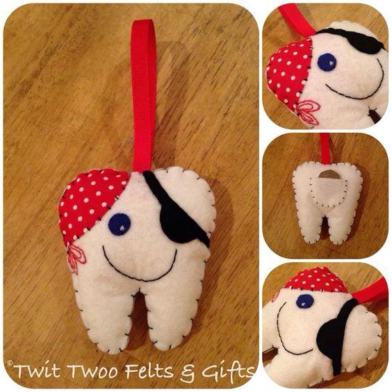 Twit Twoo Personalised Felt Tooth Fairy Holder - Pirate by TwitTwooFeltsAndGift on Etsy