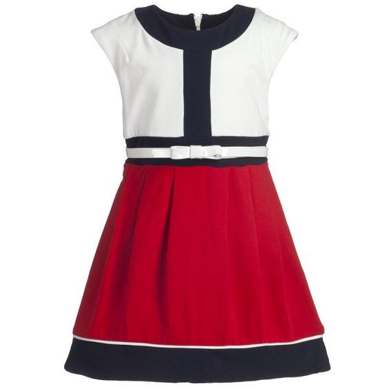 Red & White Cotton Dress - Girl   Childrensalon