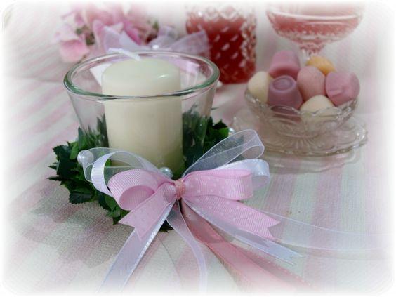 4er SET: Kerzen Votivglas Ring Rosa Mädchen Taufe Kommunion Tischdeko Geburt - Vorschau 1