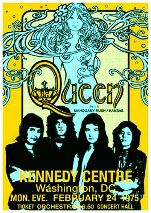 Queen 1975 Washington In 2020 Vintage Music Posters Rock Posters Vintage Concert Posters