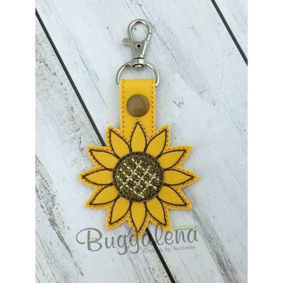 Sunflower Snap Tab Key Fob Embroidery Design