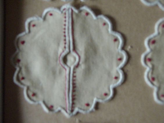 Vintage Fabric Coasters For Stemware Embroidered Set of 6 by Purana, $27.00