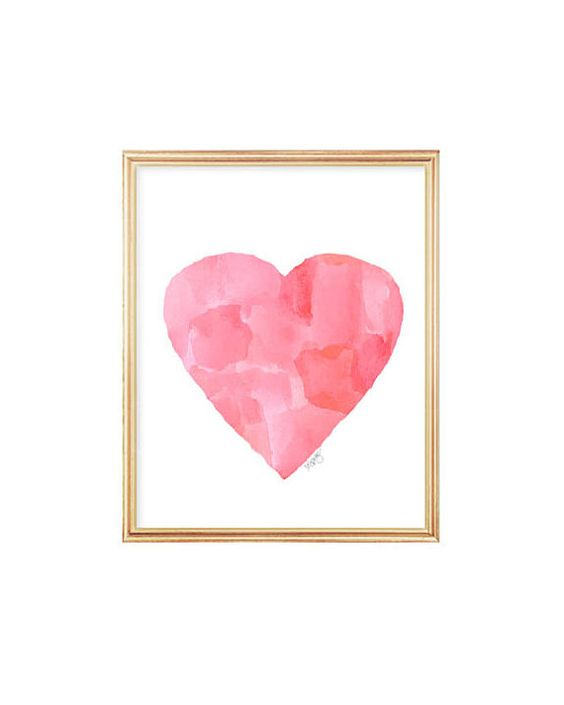 Pink Watercolor Art Abstract Heart Art Pink by OutsideInArtStudio