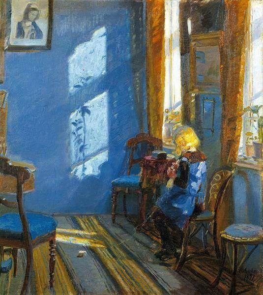 Anna Ancher (1859-1935), Danish artist Sunlight in the Blue Room, 1891,