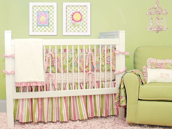 Spring Paisley Crib Bedding and Nursery Decor by Doodlefish