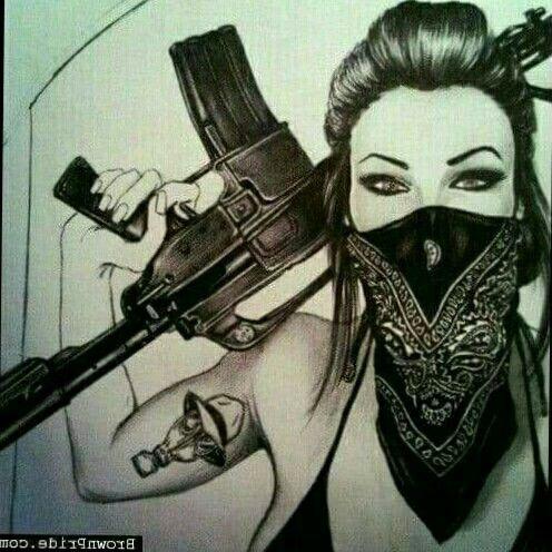 Gangsta Pinup Girl Gun Vinyl Decal Sticker Gangster Woman Assault Rifle