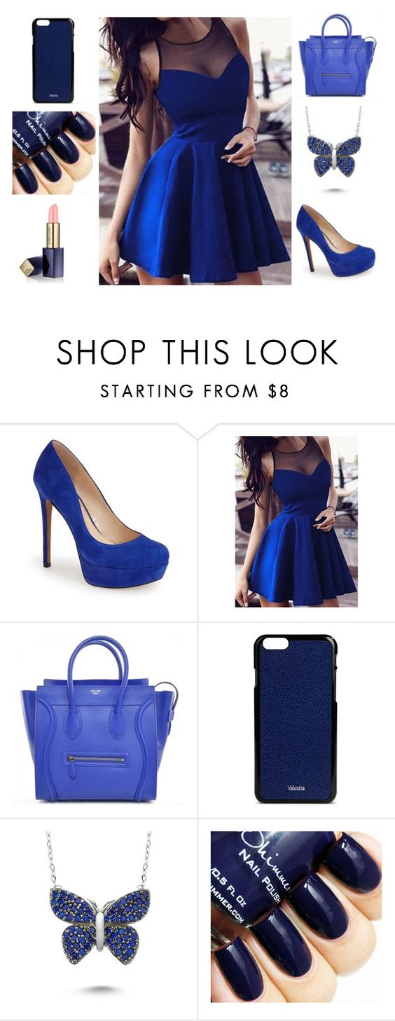 """azul"" by anarita-398 ❤ liked on Polyvore featuring Jessica Simpson, Valextra, Amorium, Estée Lauder, women's clothing, women, female, woman, misses and juniors"