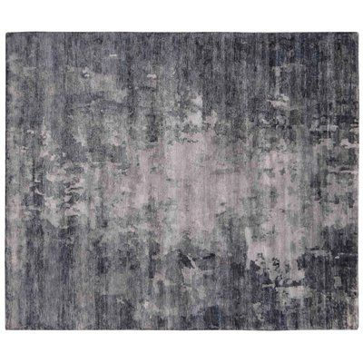 Exquisite Rugs Abstract Expressions Hand Knotted Silk Blue Dark Gray Area Rug Area Rugs Rugs Blue Area Rugs