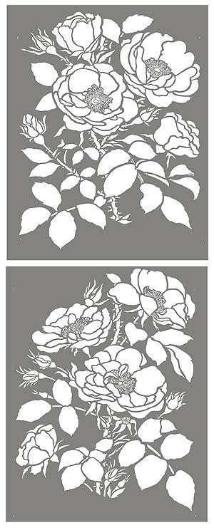 wild rose stencil, print, pattern, grey, flower, vintage, lino, screen print