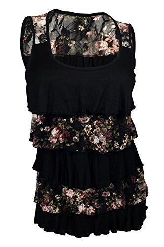eVogues Plus Size Tiered Ruffle Tank Top Black Floral Print - 1X eVogues Apparel http://www.amazon.com/dp/B00NDPHANO/ref=cm_sw_r_pi_dp_E9oavb1QTR54Z