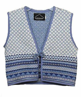 Kootenay Knit Winter Girls Childrens Vests Blue Multi Size L