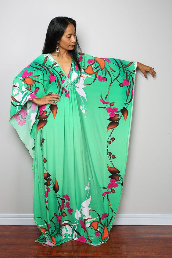 Green Floral Maxi Dress by Nuichan #shopping #fashion #etsy #bitcoin #boho: