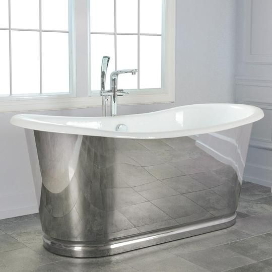 72 Florien Cast Iron Stainless Steel Skirted Bateau Tub With Images Stand Alone Tub Cast Iron Tub Steel Bath