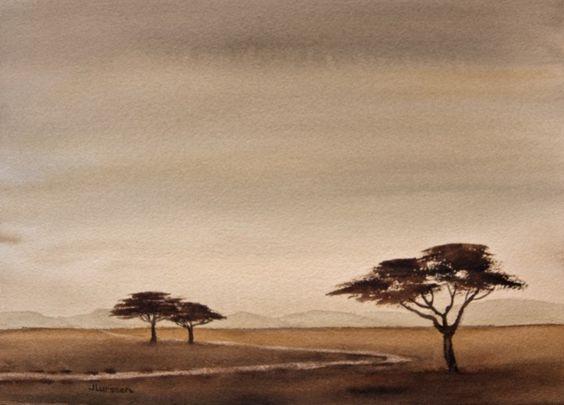 Savannah Dusk - watercolor art