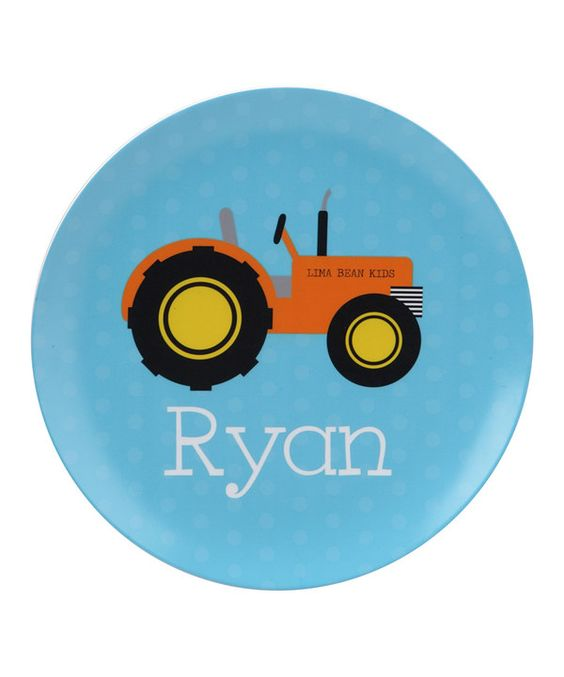 Look at this Tractor Personalized Plate on #zulily today!