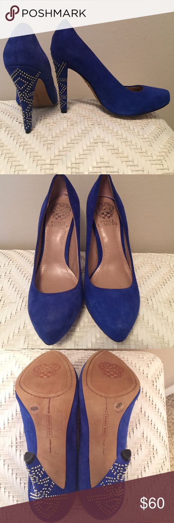 Vince Camuto Royal Blue Heels Worn once to a wedding! Gorgeous color and fun silver rhinestones on the heels. Size 6.5. Accepting offers! Vince Camuto Shoes Heels
