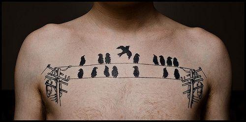 Birds on a wire #chestpiece #birds