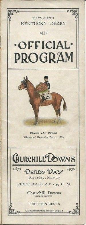 1930 Kentucky Derby Program