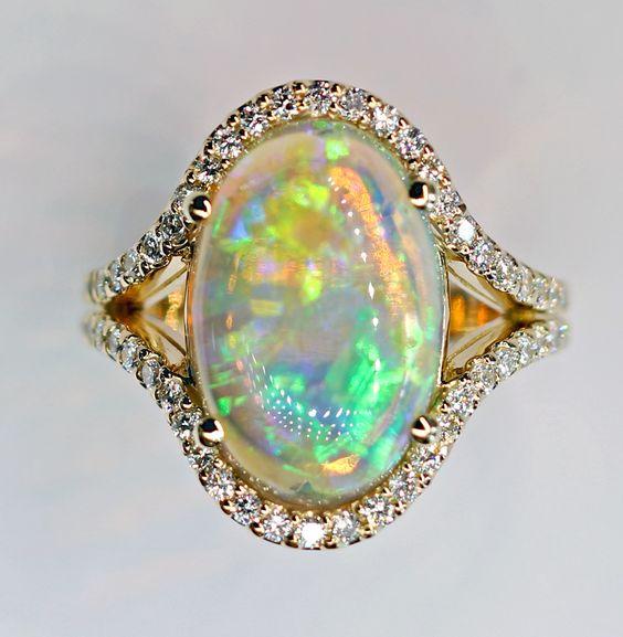 Deleuse Designer Opal and Diamond Ring