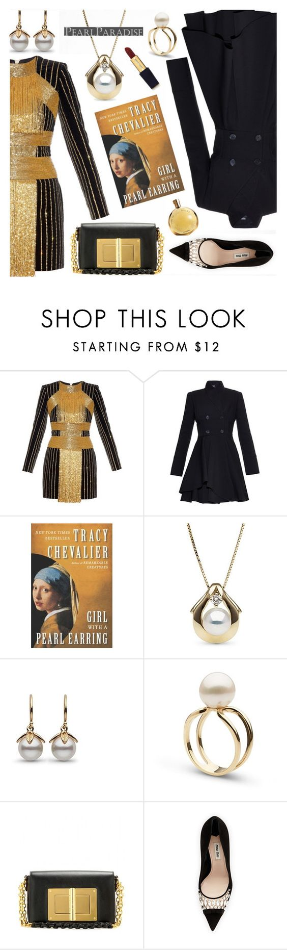 """""""Celebrate the New Year with PEARL PARADISE"""" by the-reluctant-dragon ❤ liked on Polyvore featuring Balmain, Alexander McQueen, Tom Ford, Miu Miu, Hermès, pearljewelry and pearlparadise"""