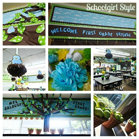 Relaxing Classroom Decor : Bird theme the blue green and brown color combination