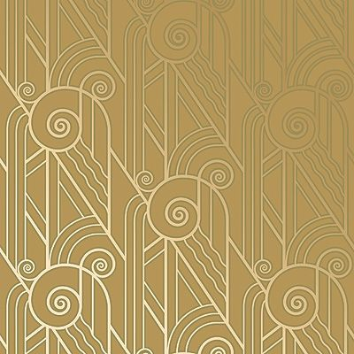 Bradbury Art Deco Designs | Volute Retro Wallpaper in Old Gold: