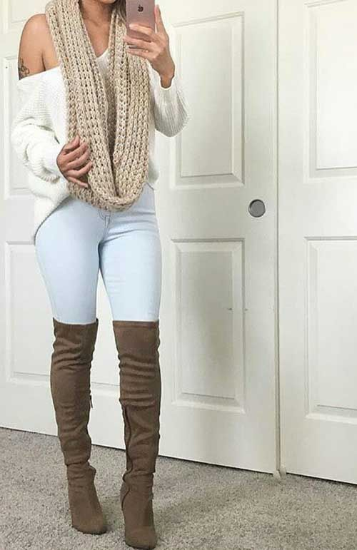 infinity-scarf-outfit- high knee boots- Simple casual fall outfits for women