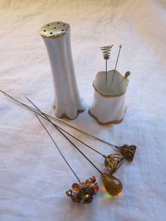 antique HATPIN holder with 7 hatpins and small cup by theartfloozy