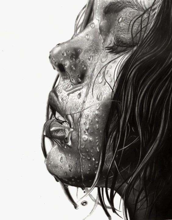 Wet! (2015) - Another water inspired pencil art drawing that details on water droplets. A marvelous piece of work that puts thorough details into achieving the shapeless and fluid action of water.
