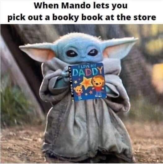 Baby Yoda Pick Out A Book Funny Star Wars Memes Star Wars Memes Star Wars Humor