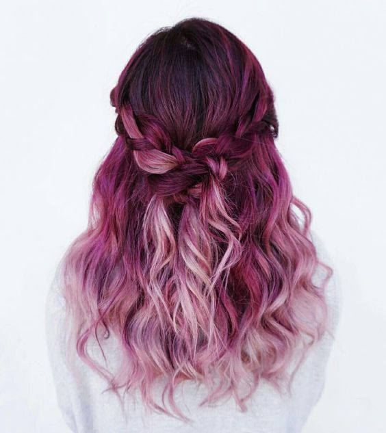 ♡❁Pinterest ☞ Palettequeen❁♡  Beauty: Fantasy Unicorn Purple Violet Red Cherry Pink Bright Hair Colour Color Coloured Colored Fire Style curls haircut lilac lavender short long mermaid blue green teal orange hippy boho ombré woman lady pretty selfie style fade makeup grey white silver  Pulp Riot: