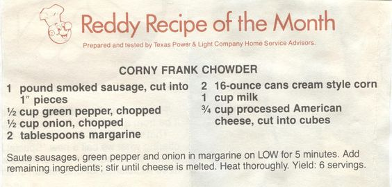 Reddy Recipe that came with the old TPL (Texas Power & Light) utility bill. I vaguely recall them.