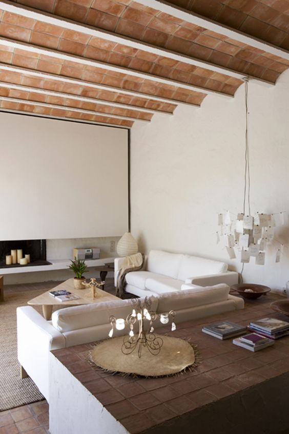Hotel rural de luxe cerca de Barcelona-salon cubierta bovedilla ceramica
