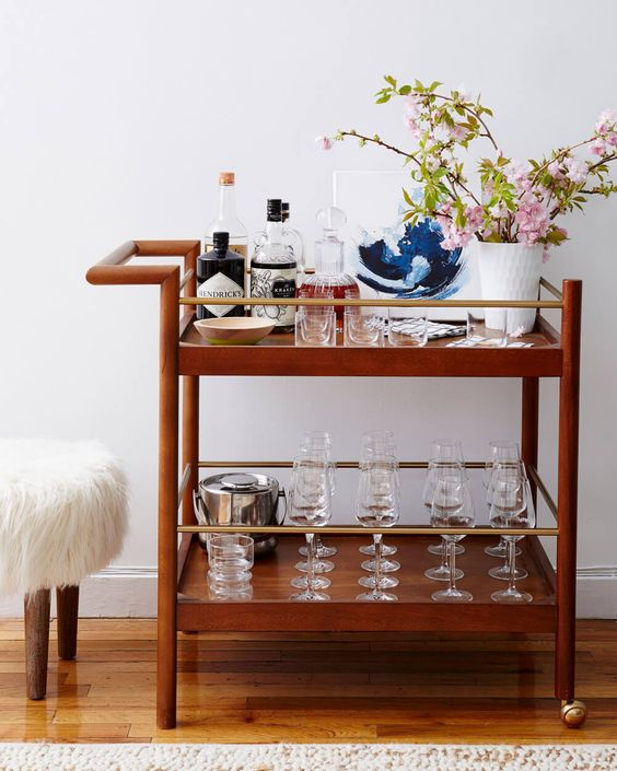 The Mid-Cnetury Bar Cart from west elm at the  Flo and Frank Office