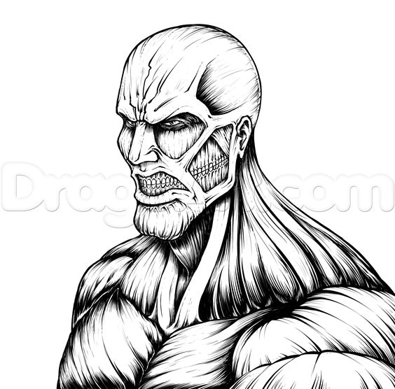 attack on titan coloring pages - how to draw the colossal titan attack of titan shingeki