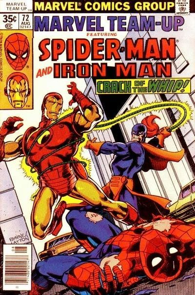 John Byrne and Bob Layton Marvel Team-Up #72 Cover (1978) #72 Cover Original Art () Wonderful, vintage Marvel Team Up cover featuring Spidey and Iron Man vs. Whiplash, created by the greatJohn Byrne with incredible inks by Bob Layton! Art is india ink on 11x17 comicart board, in excellent condition, and signed by Bob Layton!
