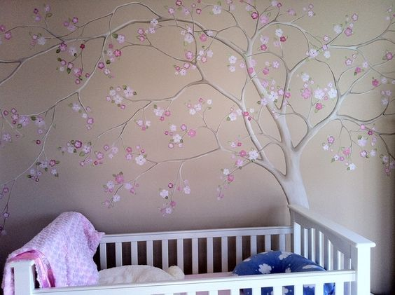 Tree murals great site has many photos to be inspired by for Baby nursery tree mural