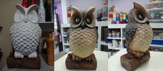 Owl - Coruja - Ateliê - Pintura sobre escultura em gesso...