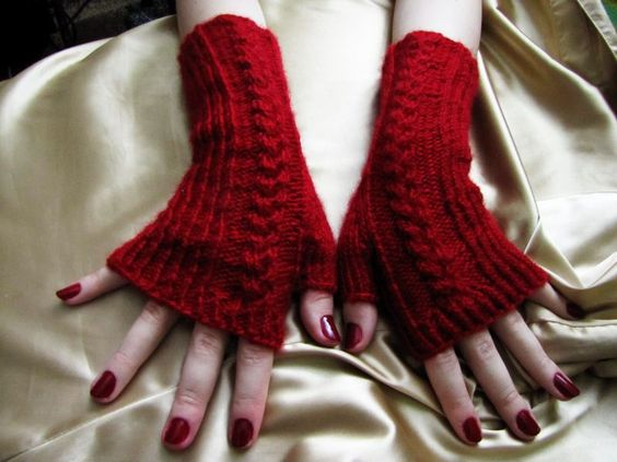 Red wine gloves, knitting by ~Asfina