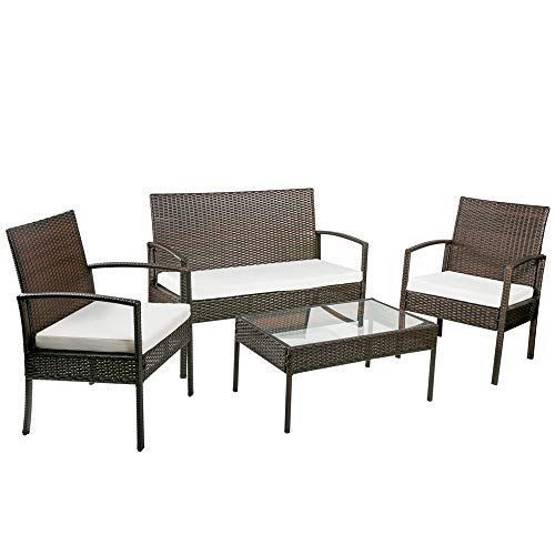 Hommoo 4 Piece Rattan Patio Furniture Set Wicker Conversation Set Garden Lawn Outdoor Sectional S Rattan Outdoor Furniture Rattan Furniture Set Garden Sofa Set
