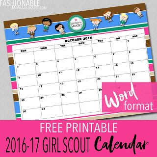 Fashionable moms free printable new girl scout calendar for Girl scout calendar template