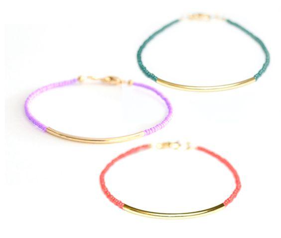Cute idea - quick project? Gold Dipped Bar Bracelets
