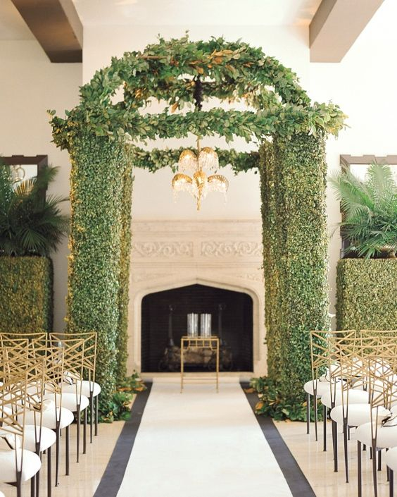 Jewish Wedding Altar: A Topiary Chuppah, Crowned With Magnolia Leaves And A
