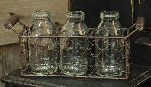 Primitive Chicken Wire Basket with Three Creamer Bottles Rustic French Country