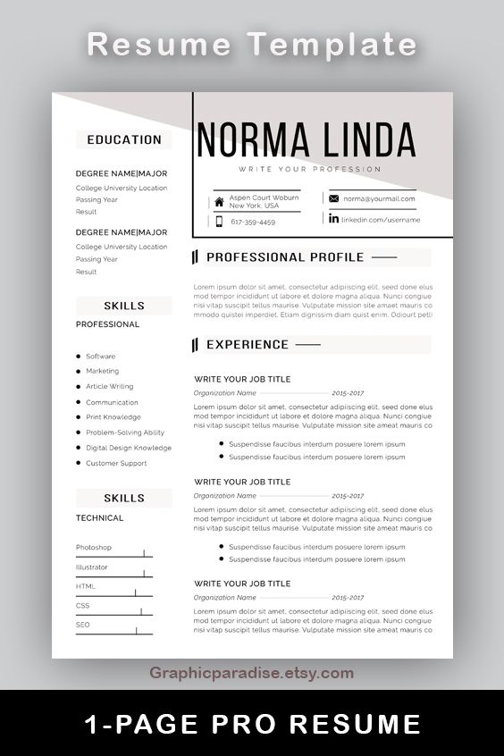 Professional Resume L Cv Template I Instant Download Ms Word Resume With Cover Letter Reference Template One And Two Page Resume Resume Template Word Resume Template Resume Template Professional