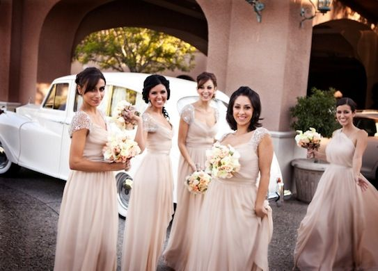 dusty pink/champagne bridesmaids dress + embellishment