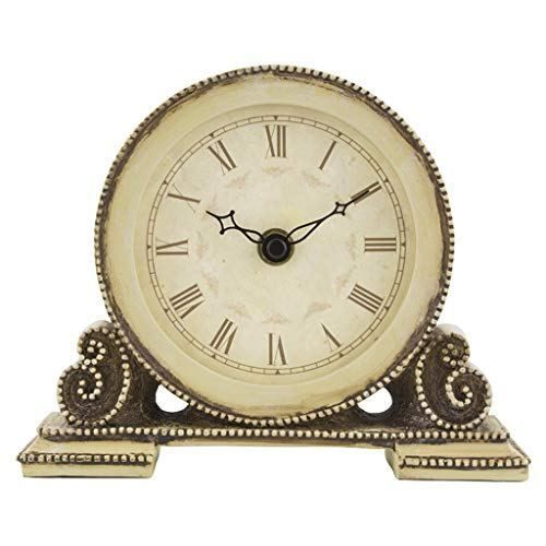 Desk Clock Table Clock For Living Room Decor Bedrooms Bathroom Small Battery Operated Analog European Vintage Non Ticking Silent Retro Decorative Table Clock Clock Room Decor Bedroom