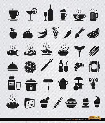 36 Alimentos y bebidas iconos planos
